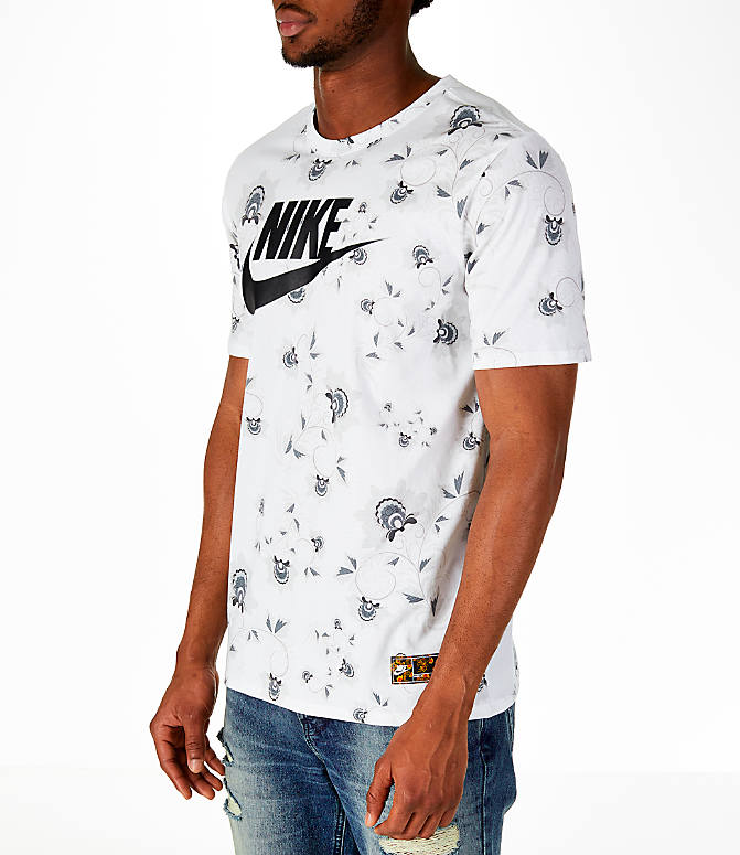 Front Three Quarter view of Men's Nike Sportswear Floral T-Shirt in White/Black