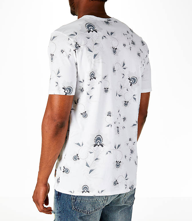 Back Left view of Men's Nike Sportswear Floral T-Shirt in White/Black