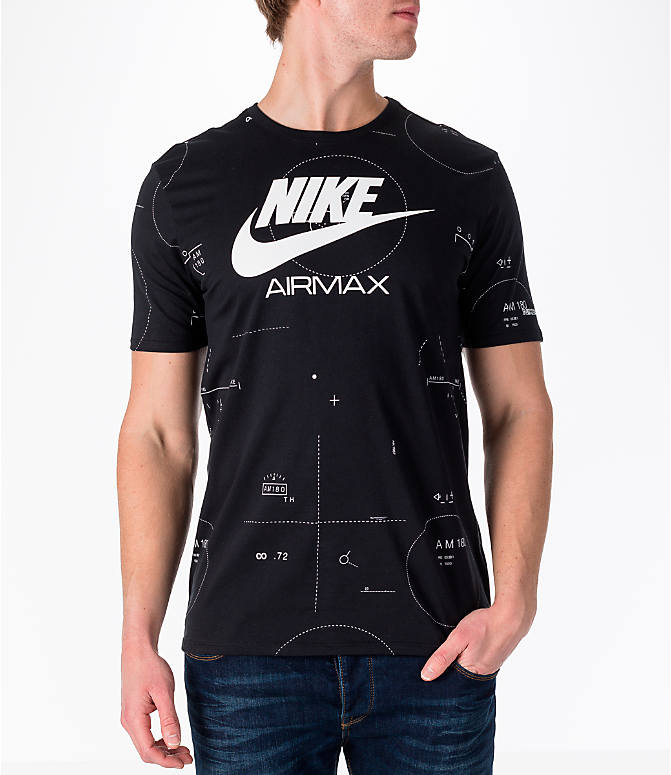 Front view of Men's Nike Sportswear Air Max T-Shirt in Black