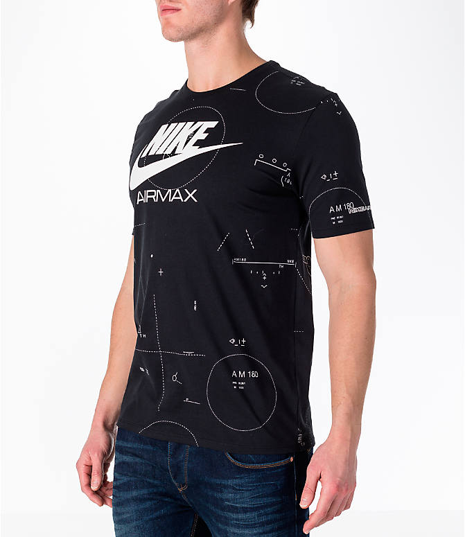 Front Three Quarter view of Men's Nike Sportswear Air Max T-Shirt in Black