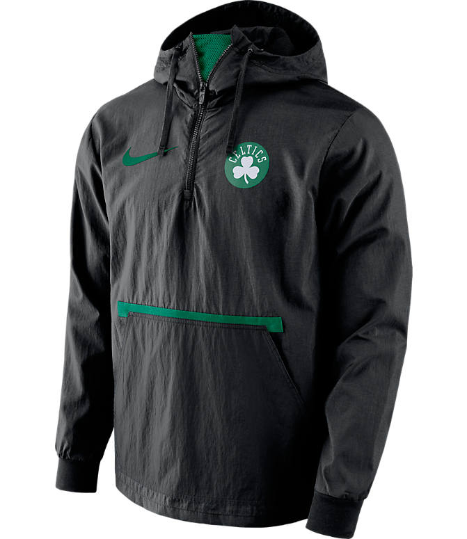Front view of Men's Nike Boston Celtics NBA Packable Jacket in Black/Green