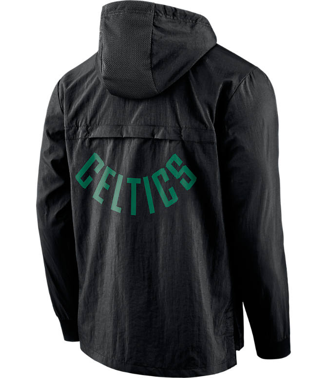 Back view of Men's Nike Boston Celtics NBA Packable Jacket in Black/Green