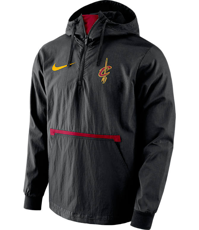 Front view of Men's Nike Cleveland Cavaliers NBA Packable Jacket in Black/Red
