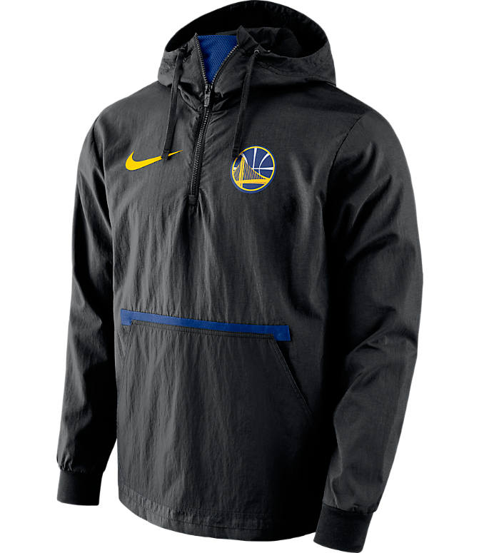 Front view of Men's Nike Golden State Warriors NBA Packable Jacket in Rush Blue