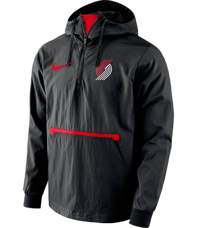Front view of Men's Nike Portland Trail Blazers NBA Packable Jacket in Black/Red