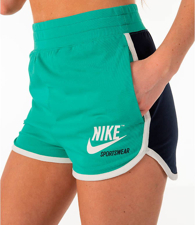 Detail 1 view of Women's Nike Sportswear Archive Training Shorts in Kinetic Green/Obsidian