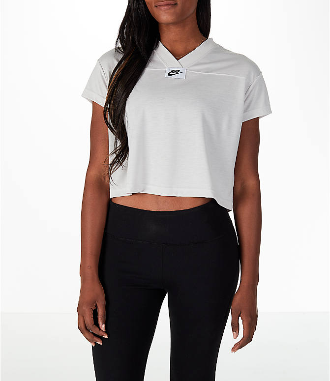 Front view of Women's Nike Sportswear Crop V-Neck T-Shirt