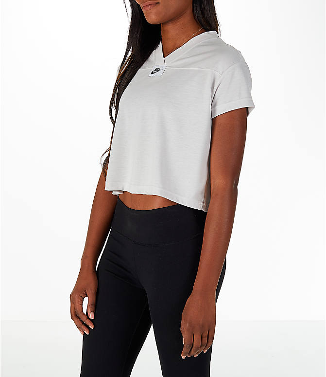 Front Three Quarter view of Women's Nike Sportswear Crop V-Neck T-Shirt