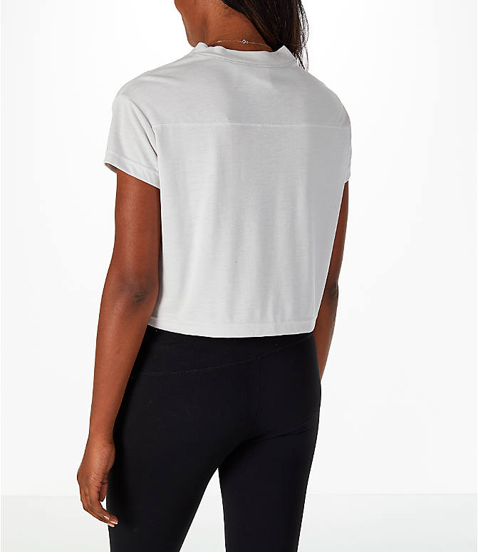 Back Left view of Women's Nike Sportswear Crop V-Neck T-Shirt