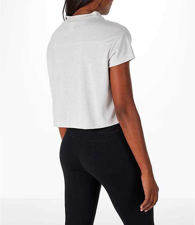 Back Right view of Women's Nike Sportswear Crop V-Neck T-Shirt