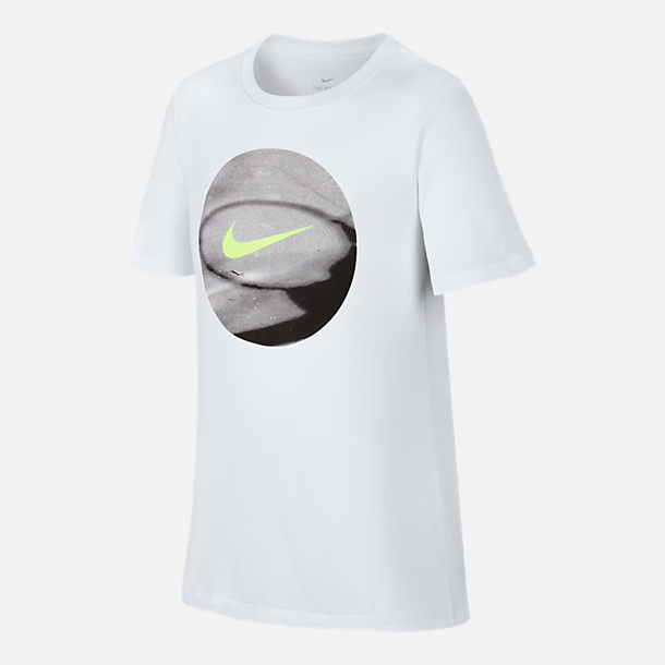 Front view of Boys' Nike Dry Basketball T-Shirt in White