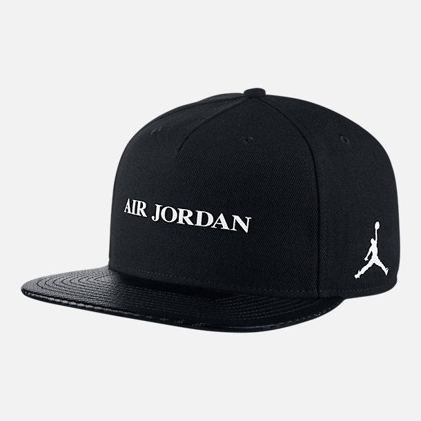 Front view of Unisex Jordan Jumpman Pro Retro 10 Snapback Hat in Black/White