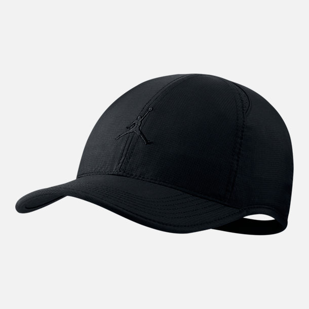 Front view of Unisex Jordan Featherlight Adjustable Hat in Black