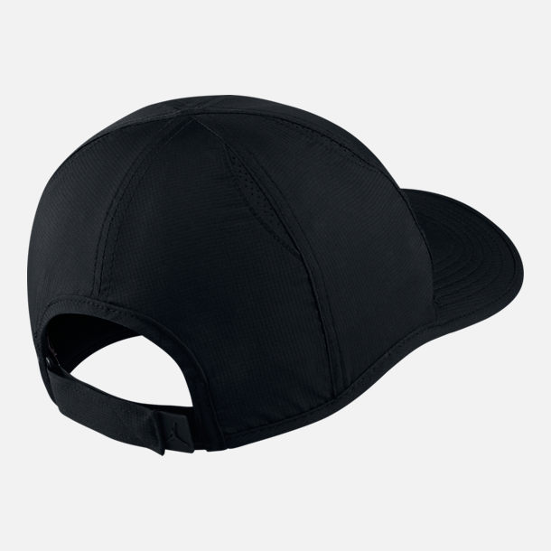 Back view of Unisex Jordan Featherlight Adjustable Hat in Black