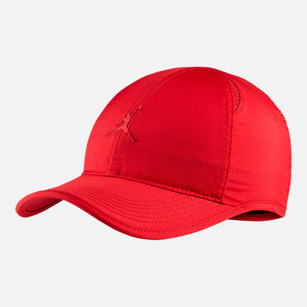 Front view of Unisex Jordan Featherlight Adjustable Hat in Gym Red