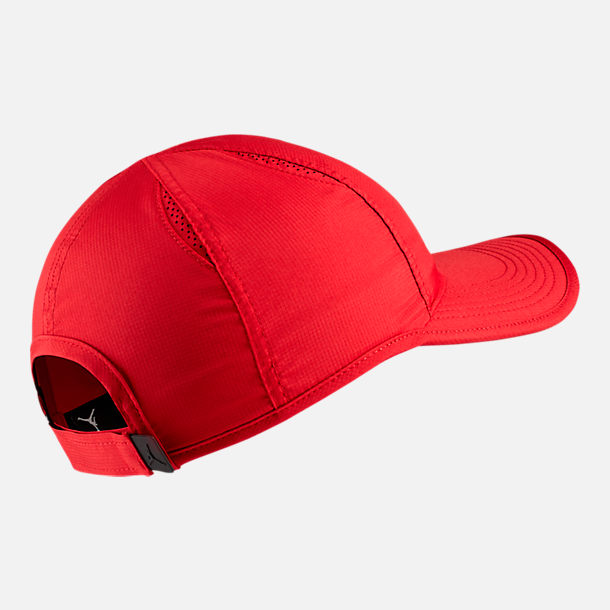 Back view of Unisex Jordan Featherlight Adjustable Hat in Gym Red