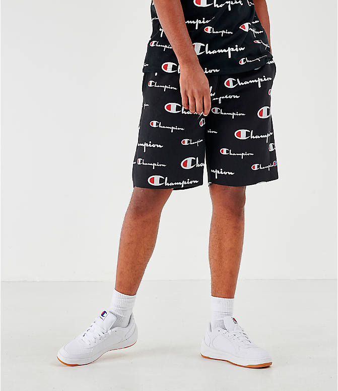 Front view of Men's Champion Reverse Weave Allover Print Script Shorts in Black