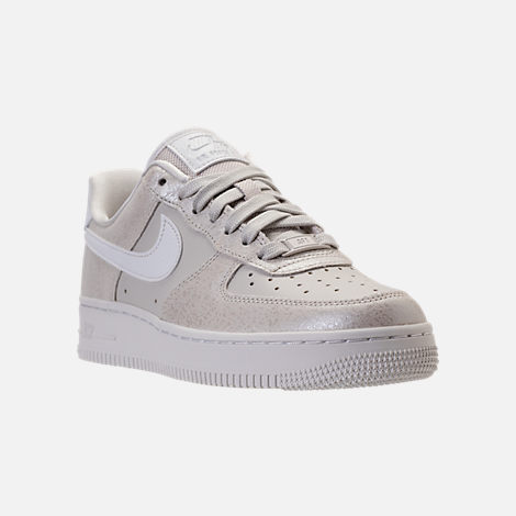 Three Quarter view of Women's Nike Air Force 1 '07 Premium Casual Shoes in Light Bone/Metallic Summit White