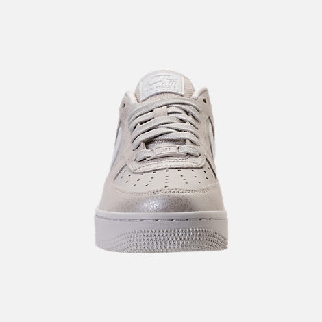 Front view of Women's Nike Air Force 1 '07 Premium Casual Shoes in Light Bone/Metallic Summit White