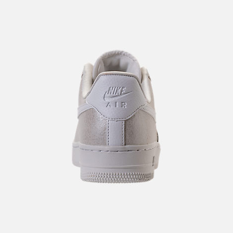 Back view of Women's Nike Air Force 1 '07 Premium Casual Shoes in Light Bone/Metallic Summit White