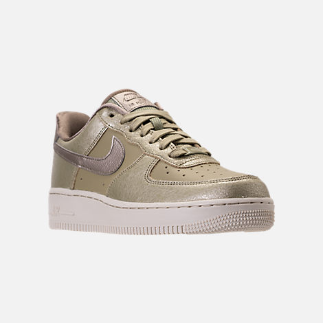 Three Quarter view of Women's Nike Air Force 1 '07 Premium Casual Shoes in Neutral Olive/Bronzed Olive/Neutral