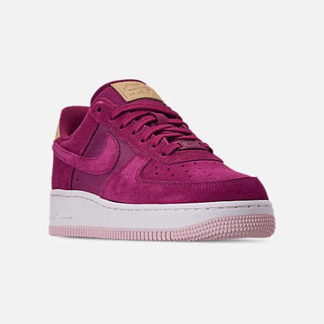 Three Quarter view of Women's Nike Air Force 1 '07 Premium Casual Shoes in True Berry/Summit White