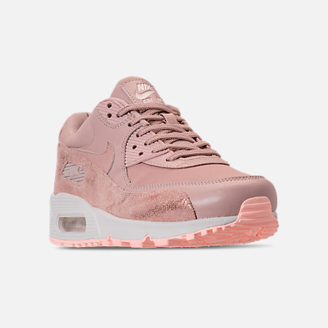 Three Quarter view of Women's Nike Air Max 90 Premium Casual Shoes in Particle Beige/Particle Beige/Summit White
