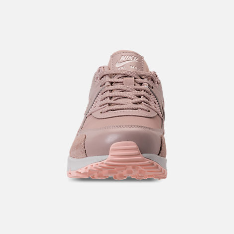 Front view of Women's Nike Air Max 90 Premium Running Shoes in Particle Beige/Particle Beige/Summit White
