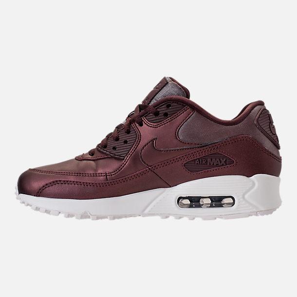 Left view of Women's Nike Air Max 90 Premium Running Shoes in Metallic  Mahogany/Mahogany