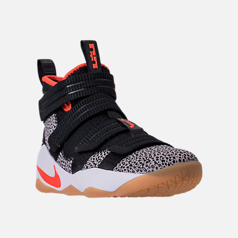 Three Quarter view of Men's Nike LeBron Soldier 11 SFG Basketball Shoes in Black/Team Orange/White/Atmosphere Grey
