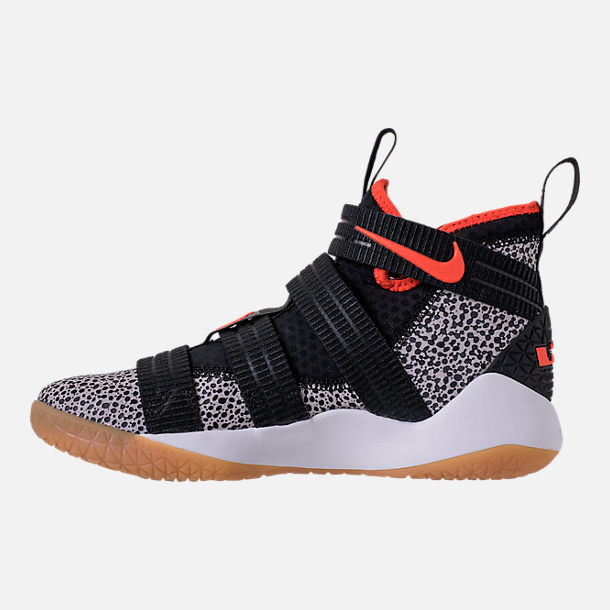 Left view of Men's Nike LeBron Soldier 11 SFG Basketball Shoes in Black/Team Orange/White/Atmosphere Grey