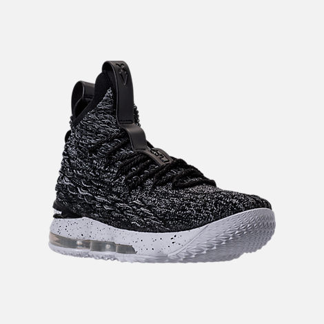 Three Quarter view of Men's Nike LeBron 15 Basketball Shoes in Black/White
