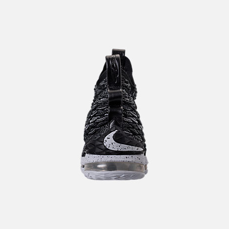 Back view of Men's Nike LeBron 15 Basketball Shoes in Black/White
