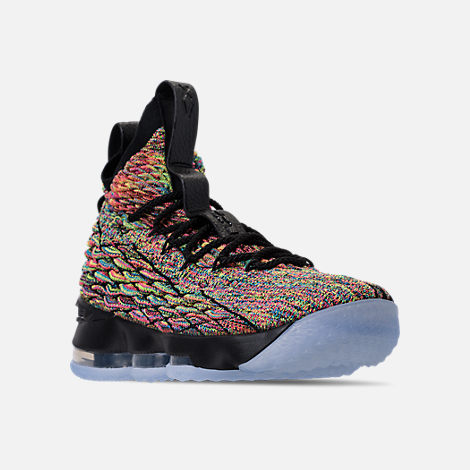 Three Quarter view of Men's Nike LeBron 15 Basketball Shoes in Multicolor/Black