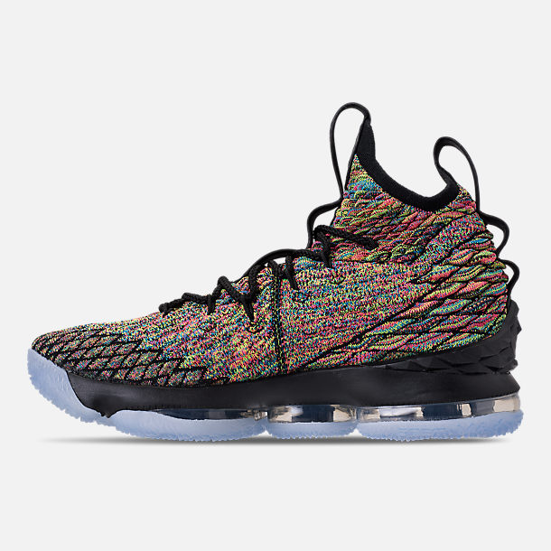 Left view of Men's Nike LeBron 15 Basketball Shoes in Multicolor/Black