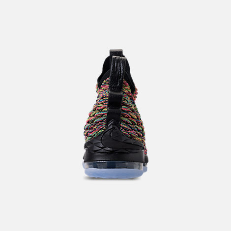 Back view of Men's Nike LeBron 15 Basketball Shoes in Multicolor/Black