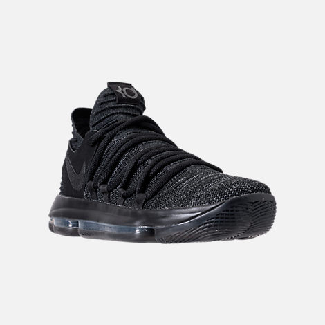 Three Quarter view of Men's Nike Zoom KDX Basketball Shoes in Black/Black