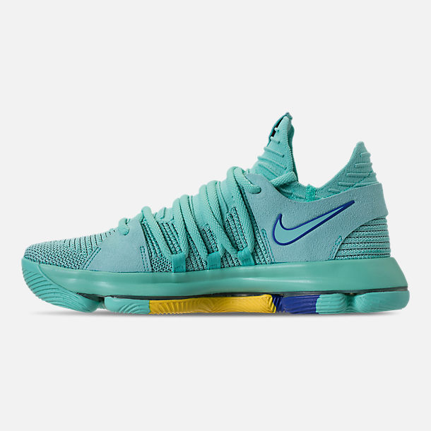 Left view of Men's Nike Zoom KDX Basketball Shoes in Hyper Turquoise/Racer Blue/Crimson