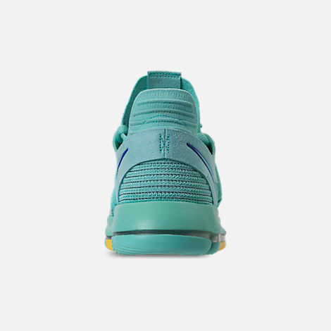 Back view of Men's Nike Zoom KDX Basketball Shoes in Hyper Turquoise/Racer Blue/Crimson