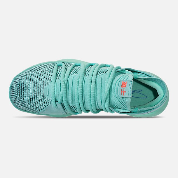 Top view of Men's Nike Zoom KDX Basketball Shoes in Hyper Turquoise/Racer Blue/Crimson