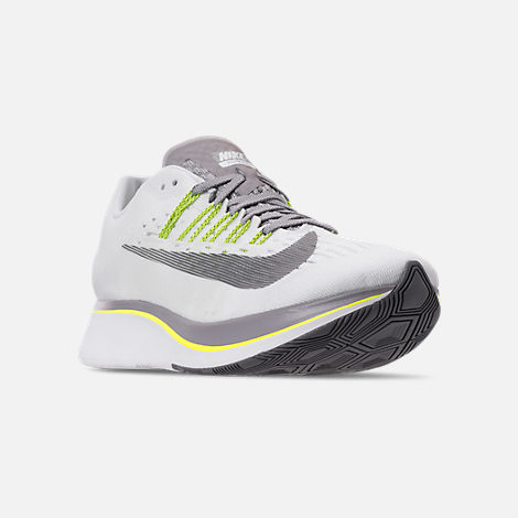 Three Quarter view of Women's Nike Zoom Fly Running Shoes in White/Black/Bright Crimson/Volt