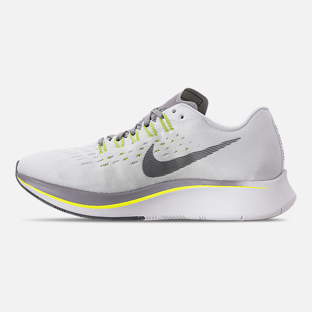 Left view of Women's Nike Zoom Fly Running Shoes in White/Black/Bright Crimson/Volt