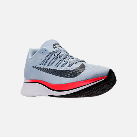 Three Quarter view of Women's Nike Zoom Fly Running Shoes in Ice Blue/Blue Fox/Bright Crimson