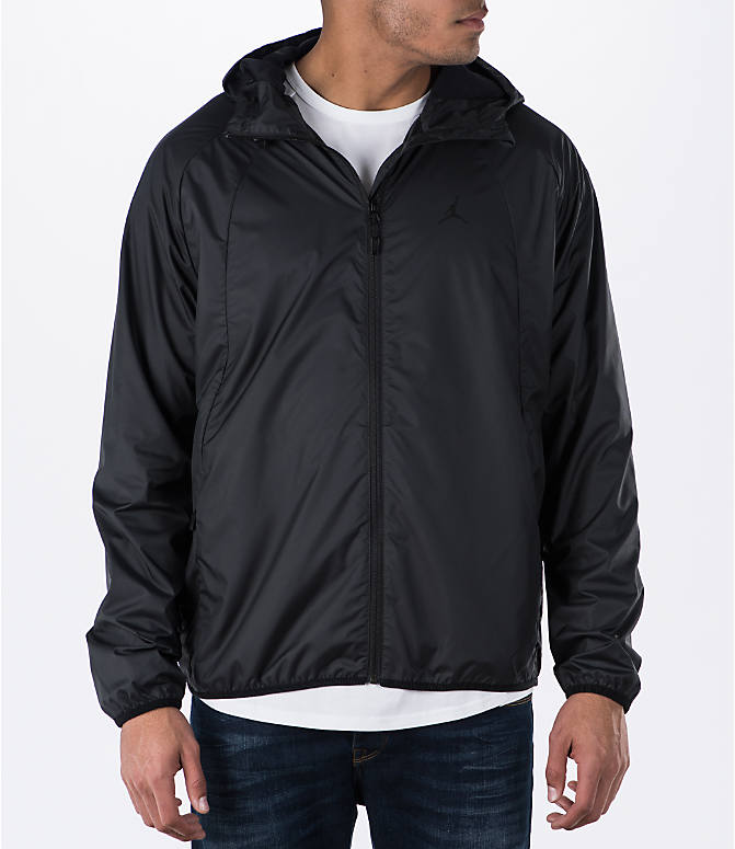 Front view of Men's Air Jordan Wings Windbreaker Jacket in Black