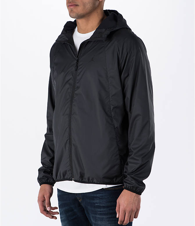 Front Three Quarter view of Men's Air Jordan Wings Windbreaker Jacket in Black