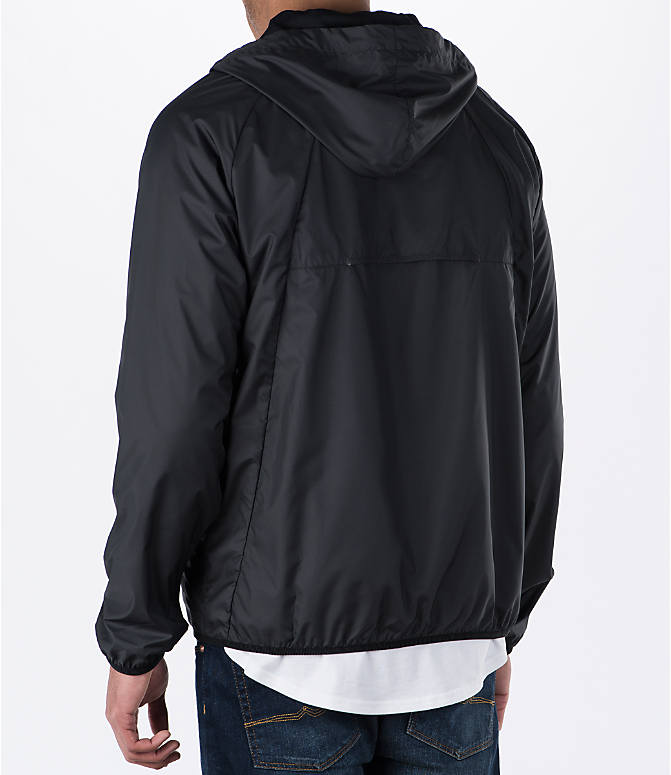Back Left view of Men's Air Jordan Wings Windbreaker Jacket in Black