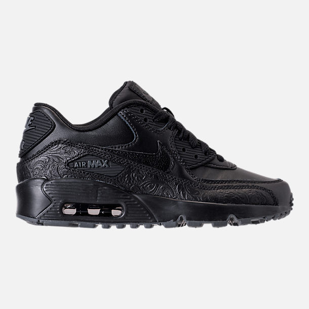 Right view of Girls' Grade School Nike Air Max 90 Leather Casual Shoes in Black/Dark Grey