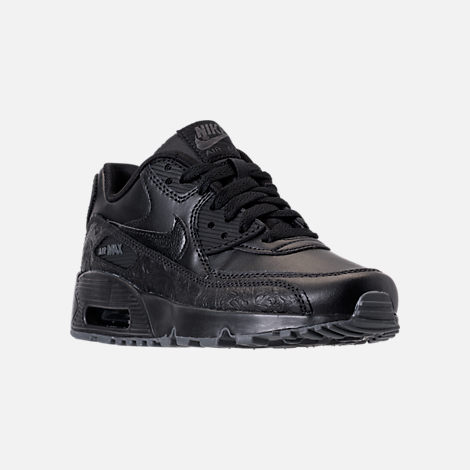 Three Quarter view of Girls' Grade School Nike Air Max 90 Leather Casual Shoes in Black/Dark Grey