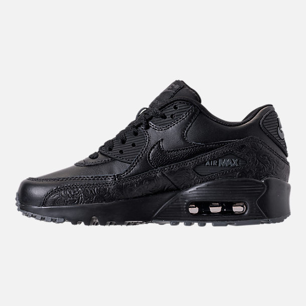 Left view of Girls' Grade School Nike Air Max 90 Leather Casual Shoes in Black/Dark Grey