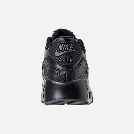 Back view of Girls' Grade School Nike Air Max 90 Leather Casual Shoes in Black/Dark Grey